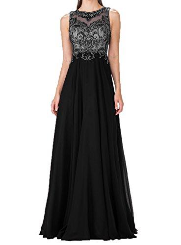 Schwarz Charmant Blau Abendkleider Promkleider Chiffon Festlichkleider Pailletten Royal Partykleider Damen Lang vqrAv4U