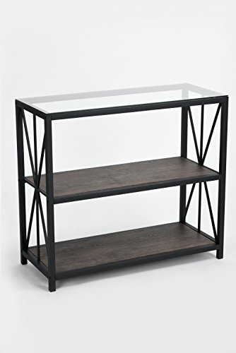 Vintage Dark Brown Glass Top Black Metal Frame 3-tier Console Table Bookcase Bookshelf (Living Room Wide Sofa Table)
