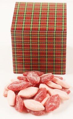 Scott's Cakes Sour Smoochie Lips in a 1 Pound Square Plaid Box