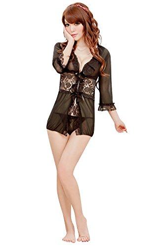 Shangrui Mujer Transparente Hilado de la Red Pajamas Negro Encaje Cardigan Albornoz Y1144 Negro