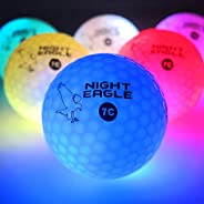 Night Eagle Light Up LED Golf Balls (6 Ball Pack) - Professional Glowing Golf Balls with Internal LED Lights