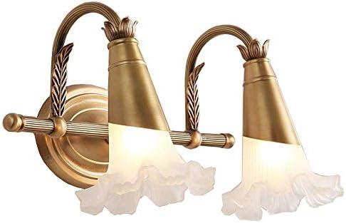 HIZLJJ ヴィンテージヨーロッパ銅ミラーヘッドライトヨーロッパ牧歌的なスタイルの浴室の壁ランプクリエイティブ花型ランプシェードの屋内照明 (Size : Style D)
