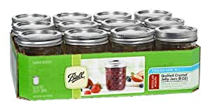 Ball Jar Crystal Jelly Jars with Lids and Bands, 8-Ounce, Quilted, Set of 12, Clear