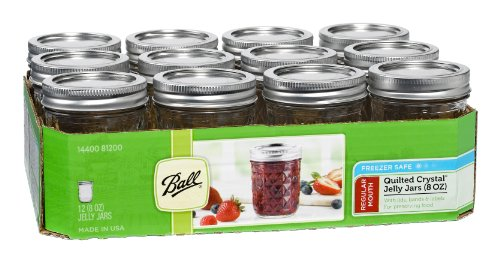 Ball Mason 8oz Quilted Jelly Jars with Lids and Bands, Set of 12 -