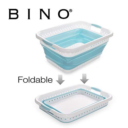 BINO Collapsible Plastic Laundry Basket - Space Saving Foldable Pop Up Hamper Bin, Light Blue