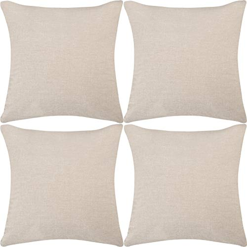 DEZENE Throw Pillow Covers,4 Pack Natural Linen Look Fabric Cushion Covers,Decorative Lined Square Pillow-case for Bed,18 x 18 Inch,Beige