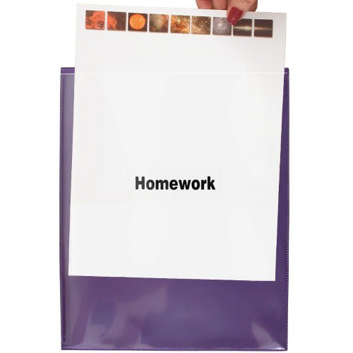 StoreSMART - Homework Folders - Metallic Purple - 50-Pack - Archival Durable Plastic - R900HW-MP50