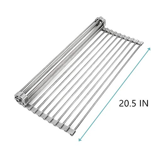 Roll Up Dish Drying Rack Over Sink, 20.5 x 15.7 Inch Small Multipurpose Kitchen Tools Stainless Steel Foldable Adjustable Dish Drainer for Fruits Vegetable Baby Bottle,Drying,Draining,Trivet