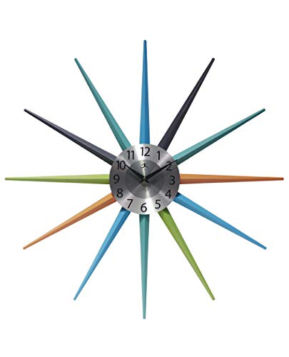 Infinity Instruments Stellar Starburst Clock Vintage | Retro Midcentury Clock | 20 inch Large Multi-Color Wall Clock Decor | Unique Cool Vintage Orange, Blue, Aqua, Black, Green Colors