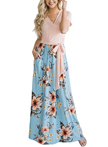 Womens Casual V-Neck Short Sleeve Floral Print Maxi Dress Criss-Cross Necklines Evening Party Dress with Belts,Pockets (Pink, ()