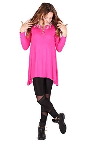 Lori&Jane Shark Bite Long Sleeve Tunic Top Blouse Shirt Stylish Modern (Hot Pink w/Trim, 14) from Lori&Jane