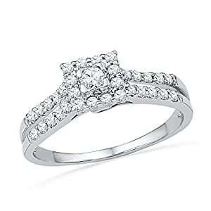 10k White Gold Womens Round Diamond Square-shape Halo Bridal Engagement Ring 1/2 Cttw