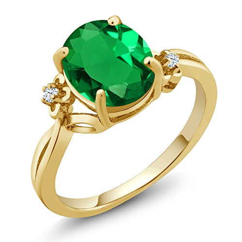 14k White Gold Green Sapphire - 2.23 Ct Oval Green Simulated Emerald White Created Sapphire 14K Yellow Gold Ring (Size 5)