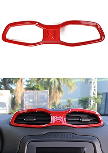 Dwindish Red ABS Interior Central Air Condition Ring Bezel Kits Vent Frame Cover Trim For Jeep Renegade 2015 Up