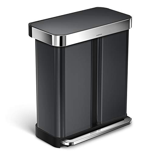 simplehuman 58 Liter / 15 Gallon Stainless Steel Rectangular Kitchen Step Trash Can Dual Compartment Recycler with Liner Pocket, Black Stainless Steel