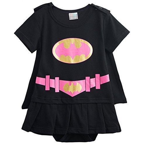 [Kiddomania Baby Toddler Boy/ Girl Superhero Bodysuit Romper Onesie Costume (90 (12-18 Months), Black] (The Incredibles Costume Girl)