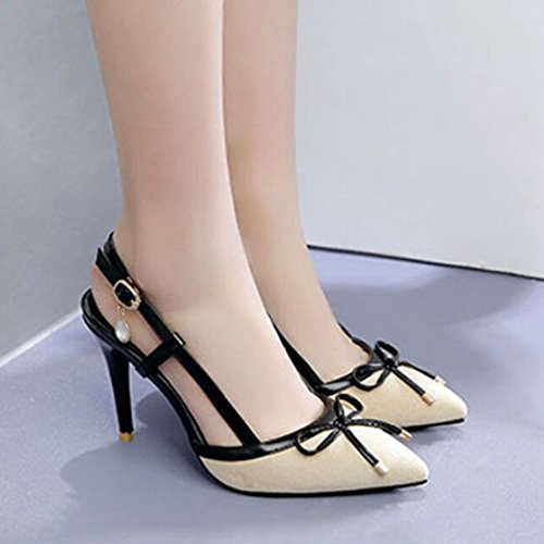 Womens Stiletto Court Ladies Spring Party Sandals Prom T Bow Suede Tip Ankle Strap Summer Work Heels Strap GAOLIXIA Heels Apricot High Pumps Shoes vqdvxI