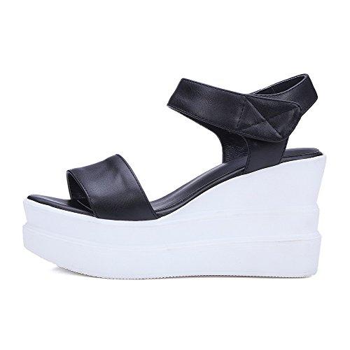 AllhqFashion Women's Solid PU High-Heels Open Toe Hook-and-loop Sandals Black pw5j1vo