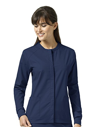 Signature Collection By Vera Bradley Women's Ruth Snap Front Sporty Solid Scrub Jacket Navy (Collection Womens Signature)