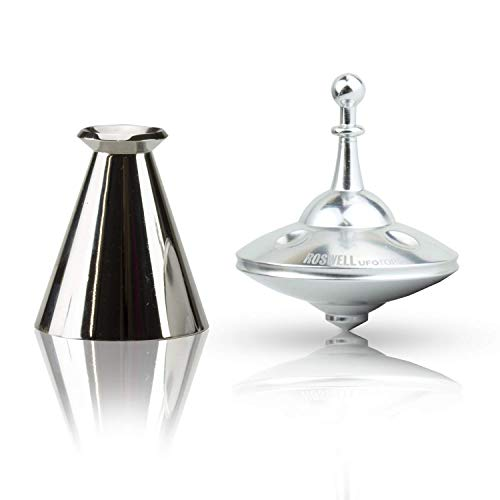Plexity Labs UFO Tops - Metal Spinning Top - Fun Toy for Kids and Adults - Inspired by The Documented 1947 UFO Sighting in Roswell, New Mexico (Cosmic Chrome, Top & Base)