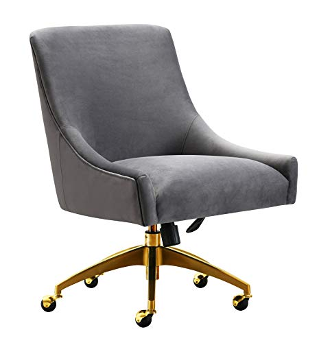 TOV Furniture TOV-H7231 Beatrix Modern Upholstered Home Office Swivel Chair, Gray