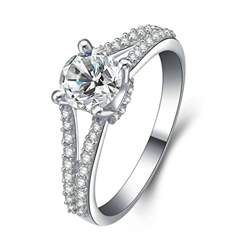 (Free Engraving)Adisaer Silver Rings for Women Wedding Bands Cubic Zirconia Size 5.5