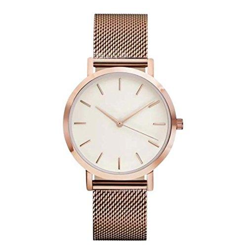 - Womail Unisex Casual Unique Classic Business Fashion Mesh Belt Quartz Strap Wrist Watch Stainless Steel Case (Rose Gold)
