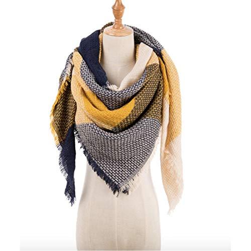 (Women's Cozy Tartan Blanket Scarf Wrap Shawl Neck Stole Warm Plaid Checked Pashmina (Blue))