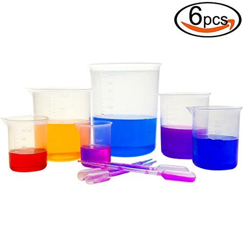 DEPEPE 6pcs Clear Plastic Beakers 1000ml 500ml 250ml 150ml 100ml 50ml with 20pcs 1ml Pipettes