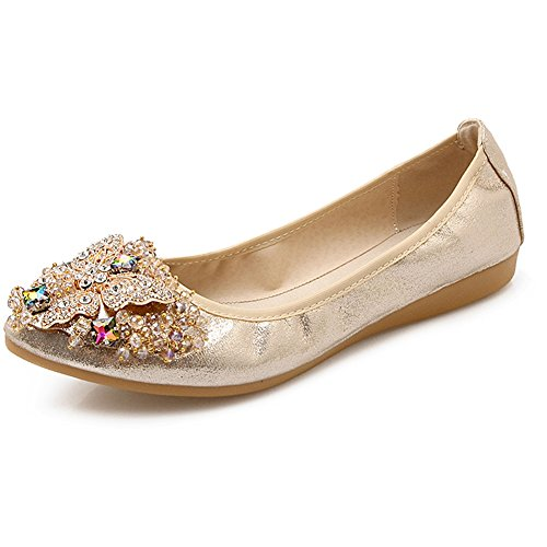 Meeshine Women's Wedding Flats Rhinestone Slip On Foldable Ballet Shoes Gold 8 US - Gold Shoes Wide