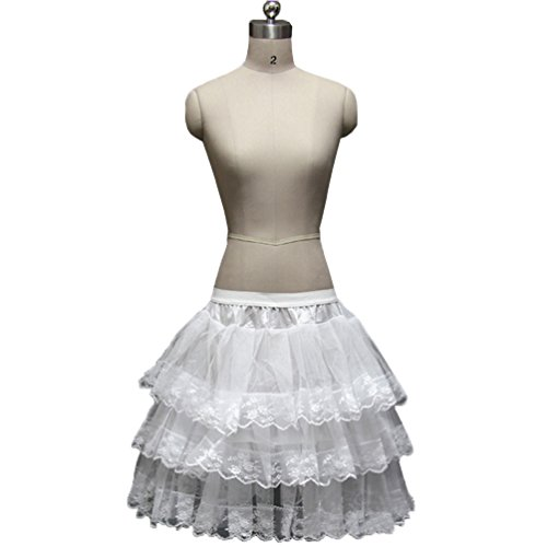 (Dannifore Girl's White Short Crinoline Petticoats Slips Underskirt for Wedding Party Style4)