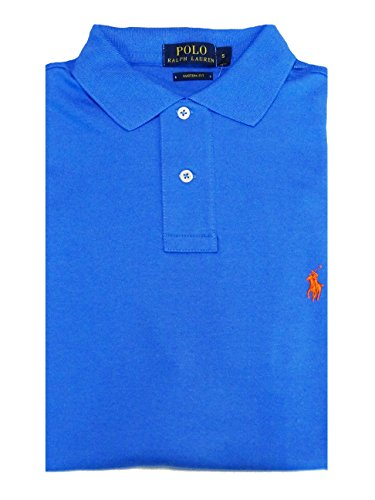 Ralph Lauren Polo - Herrenpolo - Custom Fit - Hellblau Uni - Solid Interlock Non-Spec. Medium Blue - S
