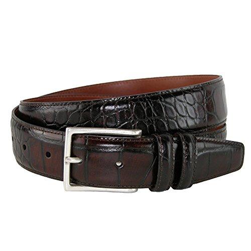 CrookhornDavis Dress Belt for Men, Tanned Leather Accessories (Crocodile), 38, Dark - Belt Crocodile Leather Textured
