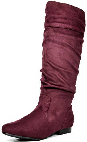 DREAM PAIRS Women's BLVD Burgundy Knee High Pull On Fall Weather Boots Size 10 M US