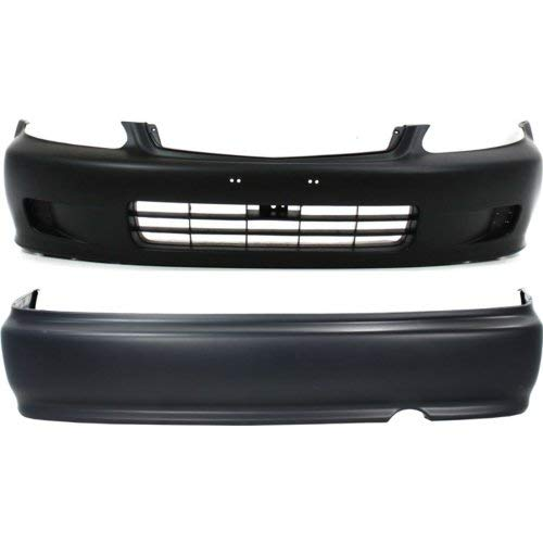 Bumper Cover Compatible with HONDA Civic 1999-2000 Front and Rear Set of 2 Primed