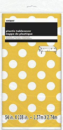 "Polka Dot Plastic Tablecloth, 108"" x 54"", Yellow"