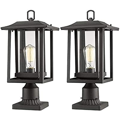 "Beionxii Outdoor Post Light Fixture, 2-Pack Large Exterior Post Lantern with 3-Inch Pier Mount Base, Sand Textured Black with Clear Glass(8.9""W x 15""H) - A197P-2PK - ✅ INDUSTRIAL STYLE WITH MODERN APPEAL: Mix of modern and industrial elements, This outdoor pole lamp features an open metal outer cage which enhances its line silhouette. The perfect addition to your exterior ensemble with this pole lantern light. ✅ TWO MOUNTING WAYS: Includes pier mount base is available for both Post Mount and Pier Mount. This outdoor pier mount light is completely weather-resistant for any outdoor environment, perfect for garden, backyard, courtyard, patio, balcony, porch, pathway or entryway. ✅ BULB REQUIREMENTS: This outdoor pillar light is fully compatible with E26 Base LED, Incandescent, CFL Bulbs (60w Max, Bulb NOT included). Recommend using LED Vintage Style Bulb. - patio, outdoor-lights, outdoor-decor - 41YDs5LVrOL. SS400  -"