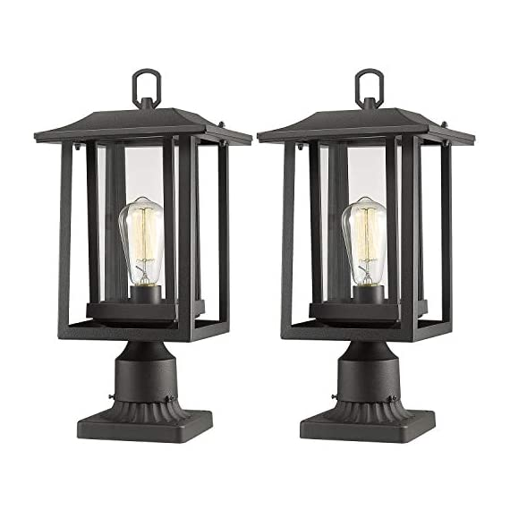 Beionxii Outdoor Post Light Fixture, Set of 2 Large Exterior Post Lantern with 3-Inch Pier Mount Base, Sand Textured… - ✅ INDUSTRIAL STYLE WITH MODERN APPEAL: Mix of modern and industrial elements, This outdoor pole lamp features an open metal outer cage which enhances its line silhouette. The perfect addition to your exterior ensemble with this pole lantern light. ✅ TWO MOUNTING WAYS: Includes pier mount base is available for both Post Mount and Pier Mount. This outdoor pier mount light is completely weather-resistant for any outdoor environment, perfect for garden, backyard, courtyard, patio, balcony, porch, pathway or entryway. ✅ BULB REQUIREMENTS: This outdoor pillar light is fully compatible with E26 Base LED, Incandescent, CFL Bulbs (60w Max, Bulb NOT included). Recommend using LED Vintage Style Bulb. - patio, outdoor-lights, outdoor-decor - 41YDs5LVrOL. SS570  -