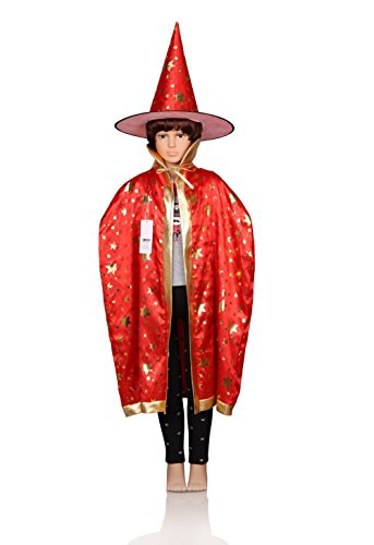 [ProEtrade Child Costume Cosplay Cape With Witch Hat For Halloween Christmas (Red)] (Halloween Witch Costumes Kids)