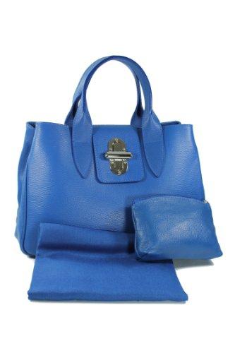 Belli Leder Set 3in1 (Geschenk Set) VERA PELLE - royal blau! Echt Leder Handtasche + Kosm. Tasche + Pashmina/Viskose Tuch