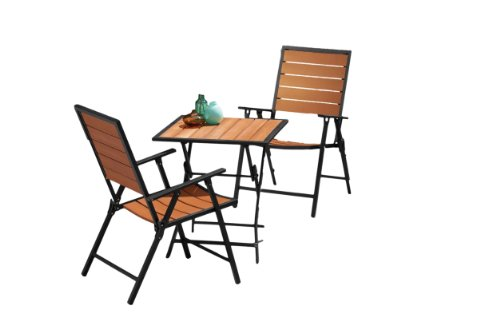Backyard Classics Ashton 3-Piece Enduro Wood Folding Bistro Set - Ashton Bench