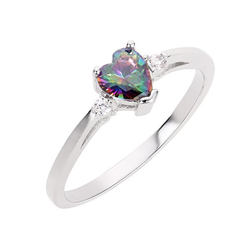 CloseoutWarehouse Mystic Simulated Topaz Cubic Zirconia Heart Promise Ring Sterling Silver Size 10