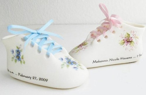 Classic Bisque Porcelain Baby Keepsake Shoe Pink