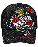 Luck Printed Mesh Back Hat Cap - Black