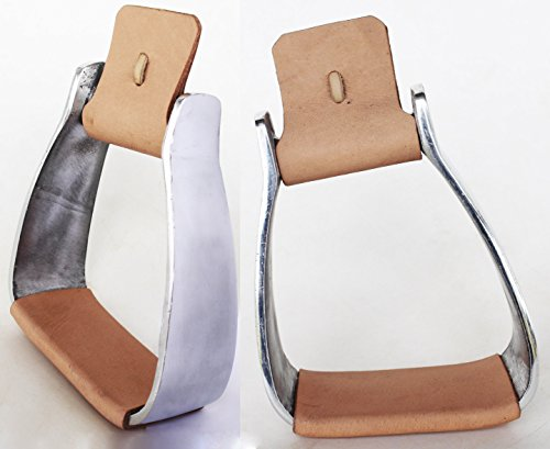 Pro Rider Horse Saddle Western Angled Slanted Aluminum Stirrups Leather Tread 5128TN ()
