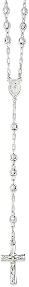 Lex /& Lu Sterling Silver Polished Rosary Beads Necklace 26