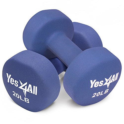 Yes4All Deluxe Neoprene Dumbbells (A Pair) %u2013 Multi Color & Weights Available