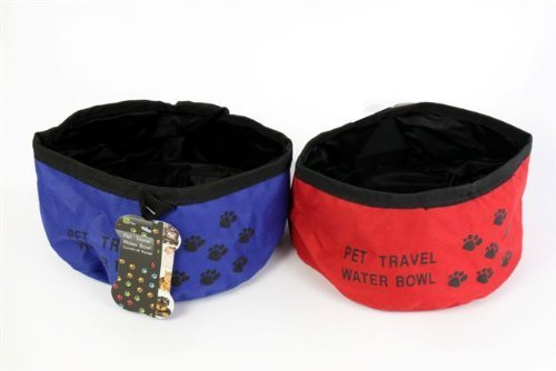 PET TRAVEL WATER BOWL 18CM DIA (COLOUR MAY VARY)
