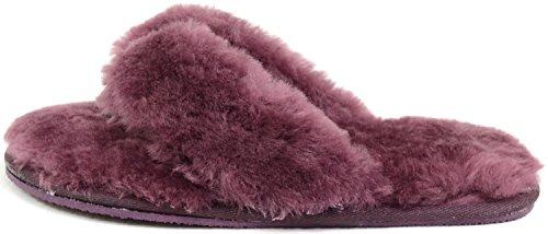 Mesdames Luxe En Peau De Mouton Flip Flop Pantoufles / Sandale / Pantoufle Lanière Par Bushga Prune