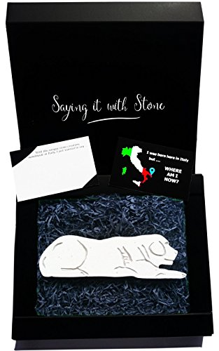 Dog Lying Down Handmade in Italy from a rare stone containing fossil fragments - Black gift box and message card included - Symbol of love devotion friendship protection loyalty (55th Wedding Anniversary Symbol)
